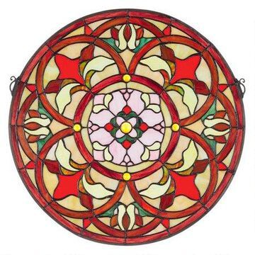 Design Toscano Baroque Floral Medallion Tiffany-Style Stained Glass Window