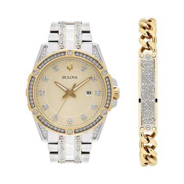 Bulova Men's Crystal Accent Watch & Bracelet Set