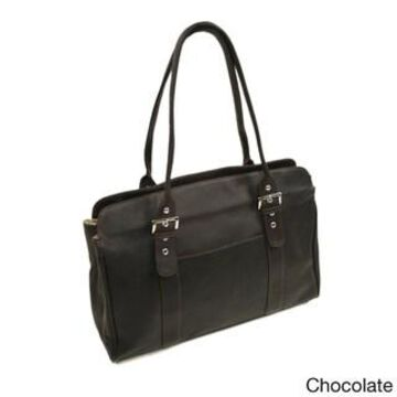 Piel Leather Women's Buckle Business Tote (Chocolate)