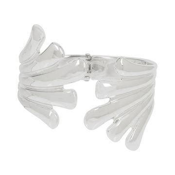 Silver-Tone Sculptural Fan Bangle Bracelet