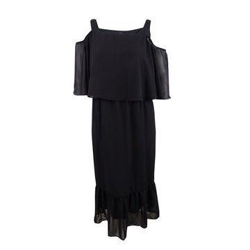 NY Collection Women's Petite Plus Cold Shoulder Popover Maxi Dress (2XP, Black) - Black - 2XP