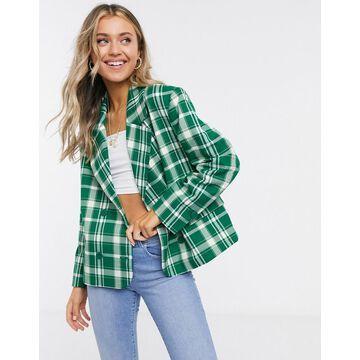 Monki Penny check print blazer in green