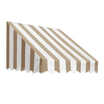 Awntech San Francisco 40.5-in Wide x 24-in Projection Linen/White Striped Fixed Window/Door Awning in Off-White | RF22-L-3LW