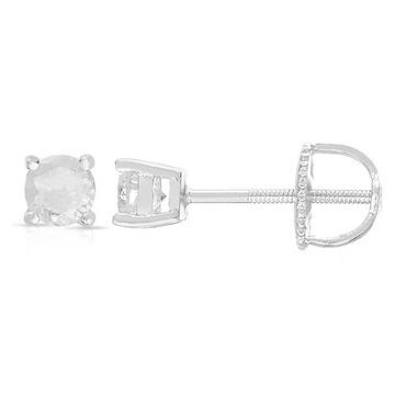 Finesque Sterling Silver Round Diamond Stud Earrings (1/ 10ct - 1 1/ 2ct TDW)
