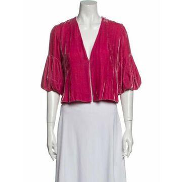 V-Neck Three-Quarter Sleeve Crop Top Pink