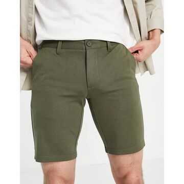 Only & Sons jersey smart short in khaki-Green
