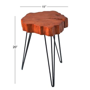 Contemporary 20 Inch Organic-Shaped Brown Accent Table by Studio 350