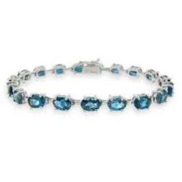 Glitzy Rocks Sterling Silver London Blue Topaz Bracelet