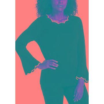 Rafaella Women's Petite Long Sleeve Scallop Trim Top - -