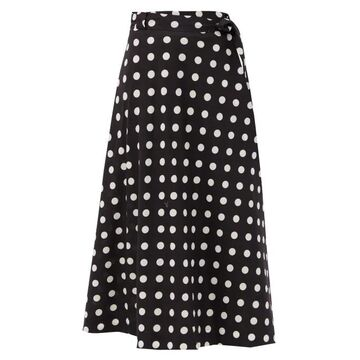 Zimmermann - Bellitude Polka-dot Linen-blend Midi Skirt - Womens - Black White