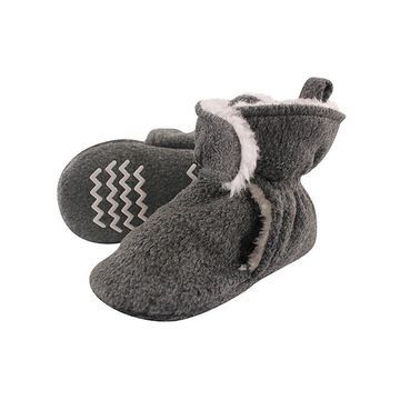 Hudson Baby Infant Booties and Crib Shoes Heather - Heather Charcoal Gripper Fleece Scooties Bootie - Kids