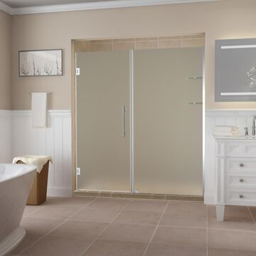 Aston Belmore GS 72-in H x 73.25-in to 74.25-in W Frameless Hinged Shower Door (Frosted Glass) | SDR960FCH743610