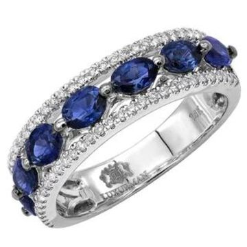 Diamond & Blue Sapphire Band Unique Womens Rings in 14k Gold 3.5ctw G-H Color by Luxurman