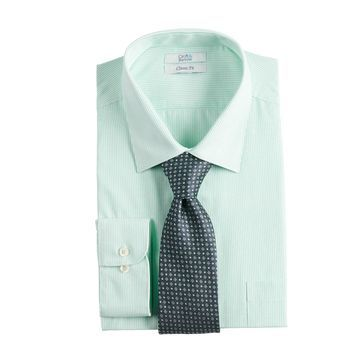 Big & Tall Croft & Barrow Stretch Collar Dress Shirt and Patterned Tie Boxed Set