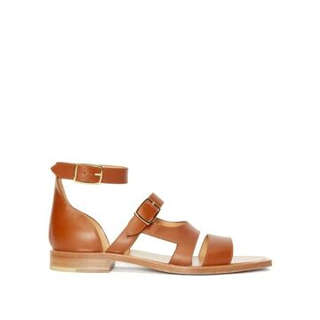 Fendi - Square-toe Buckled Leather Sandals - Mens - Brown