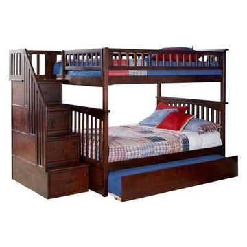 Atlantic Furniture Columbia Full Over Full Staircase Trundle Bunk Bed