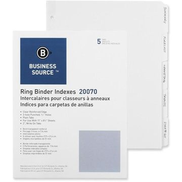 Business Source 3-Ring Plain Tab Indexes - 5 Write-on Tab(s)2