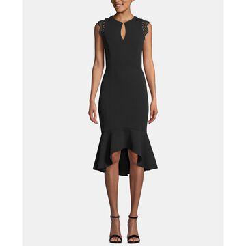 Keyhole Lace-Flounce Midi Dress