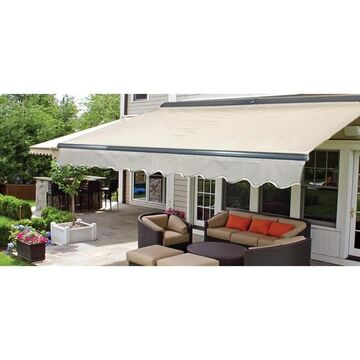 ALEKO Motorized Half Cassette Retractable Patio Awning 12x10 ft Ivory Color (Ivory)