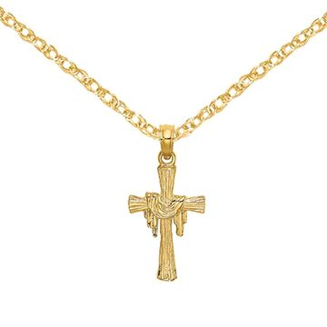 14K Yellow Gold Cross with Drape Charm with 18-inch Cable Rope Chain by Versil (18 Inch - Yellow)