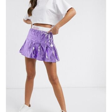 ellesse metallic pleated skirt with logo banding in purple - exclusive to ASOS