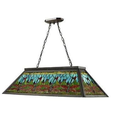 Dale Tiffany 4 Light Glade Pool Table Hanging Fixture In Dark Bronze