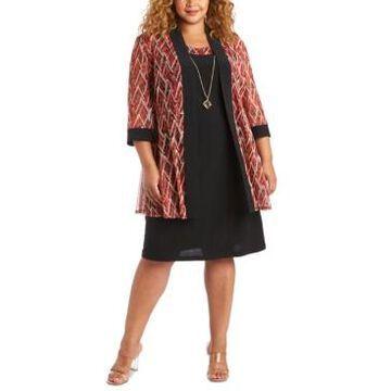 R & M Richards Plus Size Printed Jacket & Necklace Dress Set
