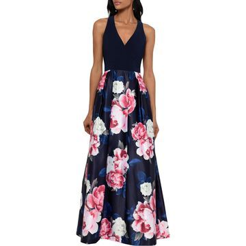 Xscape Womens Petites Party Dress Floral Sleeveless - Navy/Floral