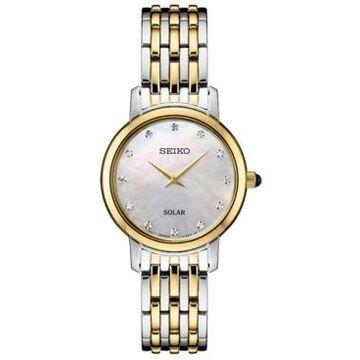 Seiko Women's Solar Diamond Collection Diamond-Accent Two-Tone Stainless Steel Bracelet Watch 30mm