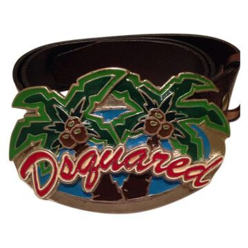 Dsquared2 Green Leather Belts