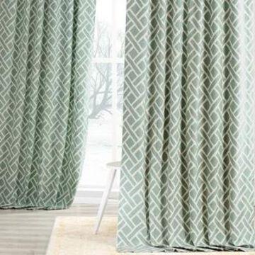 Exclusive Fabrics Martinique Geometric Pattern Cotton Curtain Panel (Single) (50 X 108 - martinique aqua)
