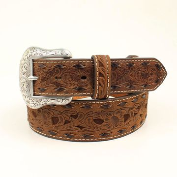 Nocona N2415302-32 Mens Tappered Laced Underlay Belt - Black, Black & Brown - Size 32