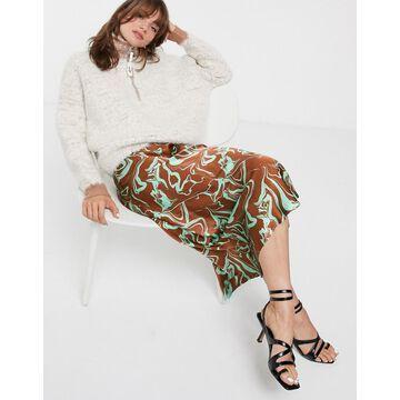 ASOS WHITE marble print midi skirt-Brown