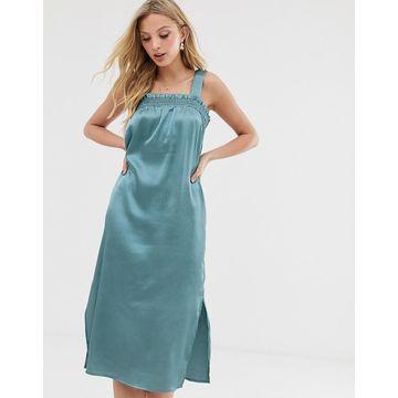 Y.A.S sheered detail satin midi dress