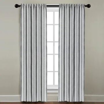 White and Navy Stripe Window Panel (72 Inches)