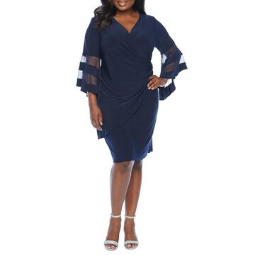 R & M Richards-Plus 3/4 Bell Sleeve Sheath Dress