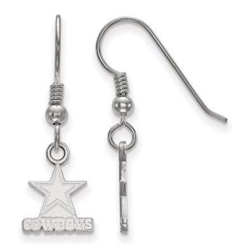 LogoArt Sterling Silver Rhodium-plated NFL Dallas Cowboys Extra Small Dangle Earrings
