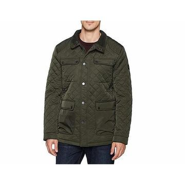 Bernardo Mens Jacket Olive Medium Quilted Snap-Buttons