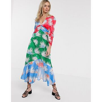 Liquorish satin midi dress in mixed floral print-Multi