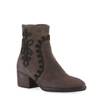 Fathom Embroidered Suede Booties, Dark Taupe