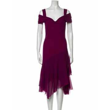 Square Neckline Midi Length Dress Purple