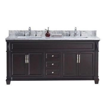 Virtu USA Victoria 60-in Espresso Undermount Double Sink Bathroom Vanity with Italian Carrara White Marble Top in Brown