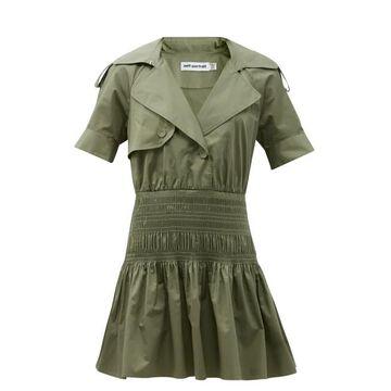 Self-portrait - Smocked-waist Cotton Trench Mini Dress - Womens - Khaki