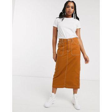 Dr Denim contrast stitch detail midi skirt-Tan
