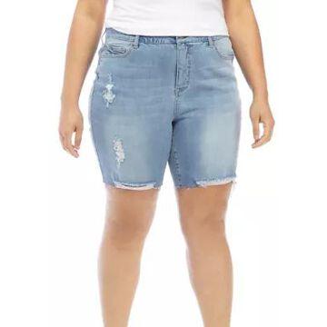 American Rag Women's Plus Size Willow Fray Hem Bermuda Shorts - -