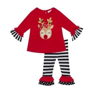 Rare Editions Little Girl Reindeer Applique Top With Printed Legging Set
