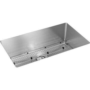 """Elkay Crosstown 16 Gauge Stainless Steel 32-1/2"""" x 18"""" x 10"""", Single Bowl Undermount Sink Kit"""