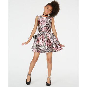 Big Girls 2-Pc. Mixed-Print Dress