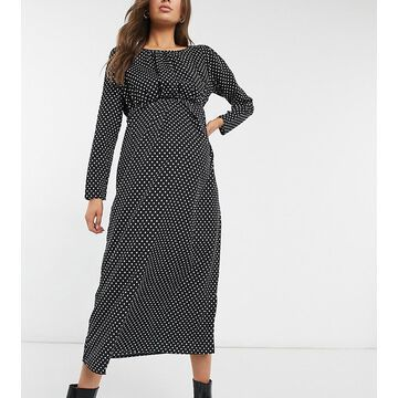 Mamalicious Maternity maxi dress in black polka dot-Multi
