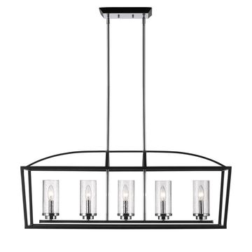 Golden Lighting Mercer Black Seeded Glass 5-light Linear Pendant